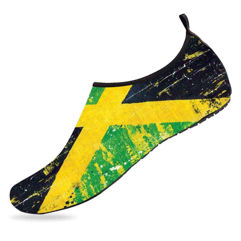 BEOT 3D Printed Water Sports Shoes Barefoot Quick-Dry Jamaican Flag Courful Aqua Yoga Socks for Men Women