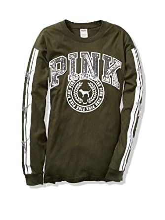 e4b238fdcd279 Victoria Secret Pink Bling Long Sleeve Campus Tee (Olive) Medium at ...
