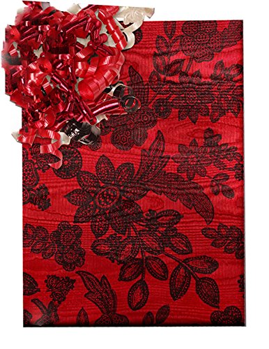 "15 Ft Roll Beautiful Red Moiré Foil Chantilly Lace Gift Wrap Paper - 30"" Wide"