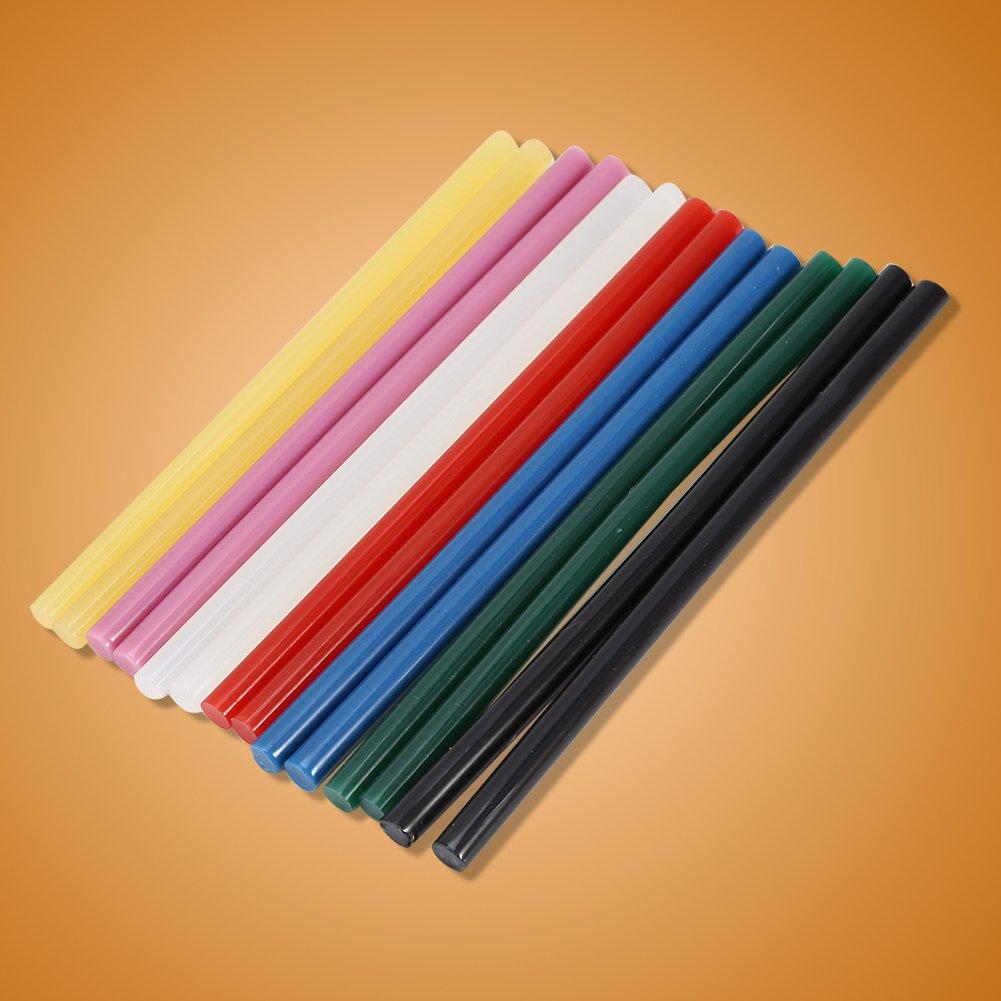 Black Fdit 10Pcs Hot Glue Sticks,150mm Colorful Hot Melt Glue Adhesive DIY Craft Sticks for 20W Small Power Gun