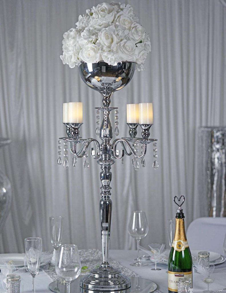 Efavormart 33'' Tall Silver Arm Shiny Metal Candelabra Chandelier Votive Candle Holder Wedding Centerpiece
