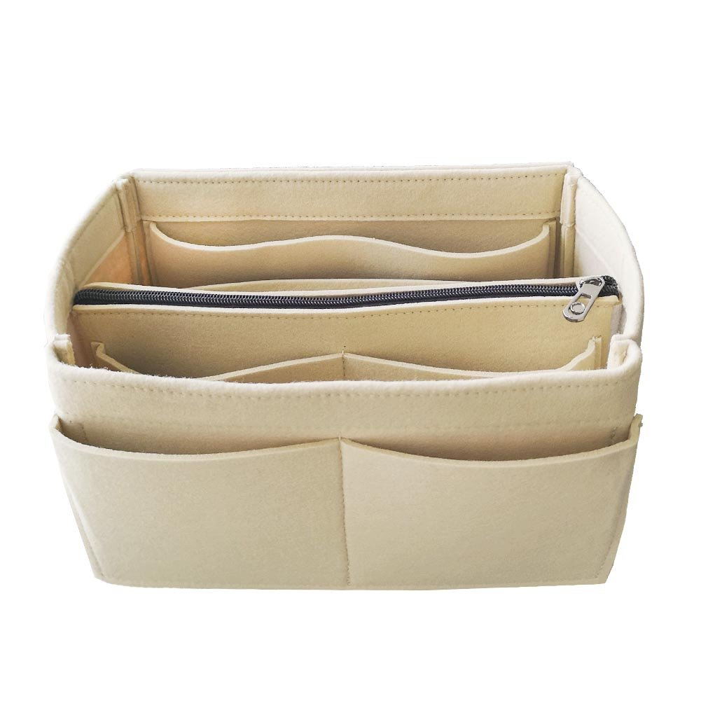 APSOONSELL Felt Purse Insert Handbag Organizer Multi Pocket Bag in Bag with Removable Bag,Beige-S