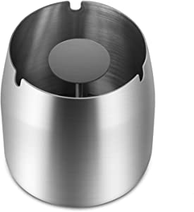 YAQII Ashtray Outdoor Windproof for Patio Deck Porch, Big Stainless Steel Metal Ashtray Indoor for Tabletop at Home Office Business, Ash Tray for Outside Inside Using (Silver, Large)