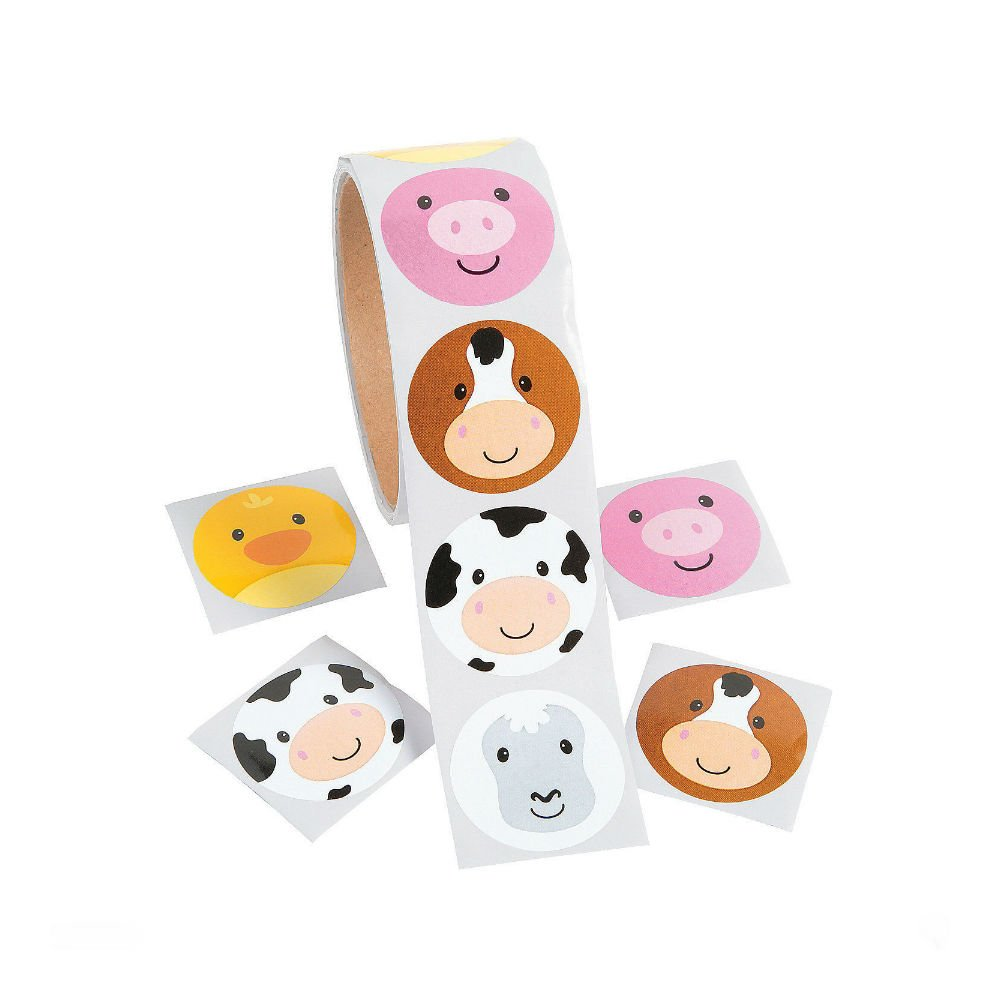 1 Roll Everyday Party Favors Cowboy Barnyard Ranch FARM Face ANIMAL STICKERS