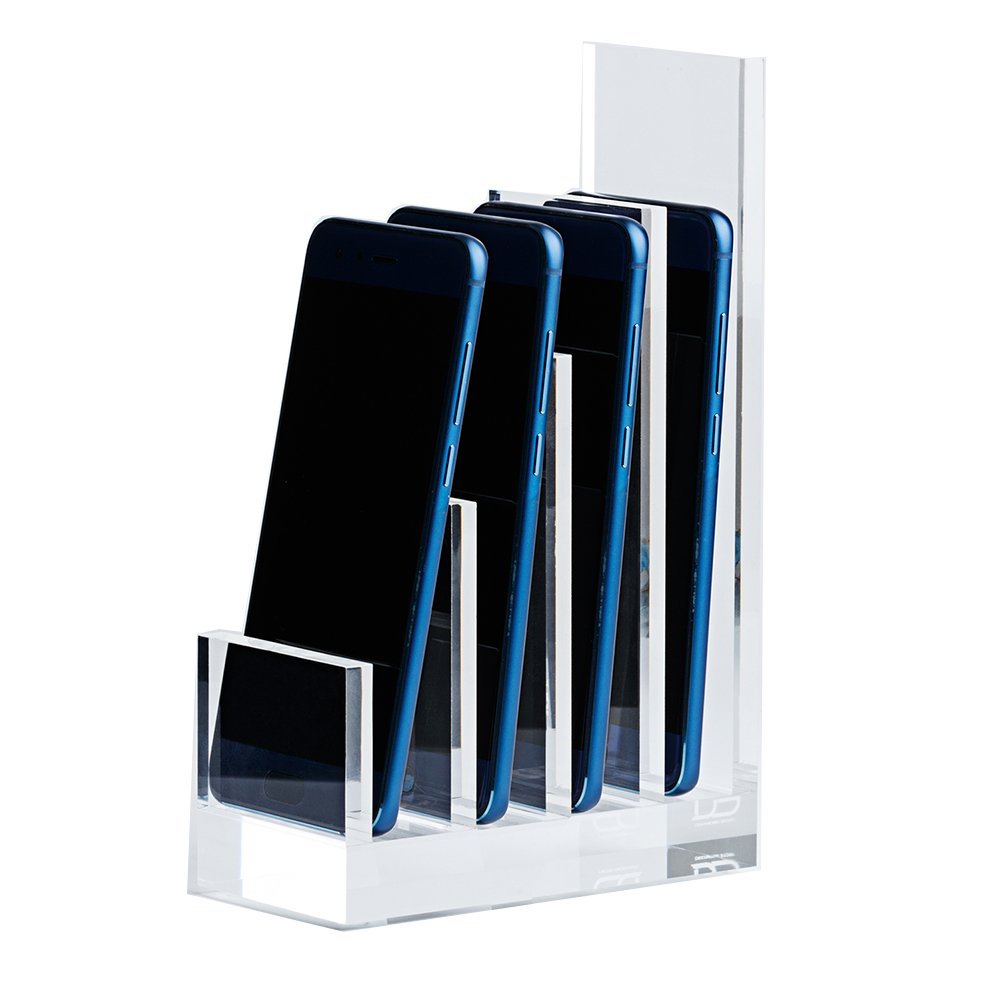 Acrylic Desk File Sorter by Draymond Story, 4 Slots(13/16'' Gap), Clear Organizer (DPOY - Desktop Products of Yankees)