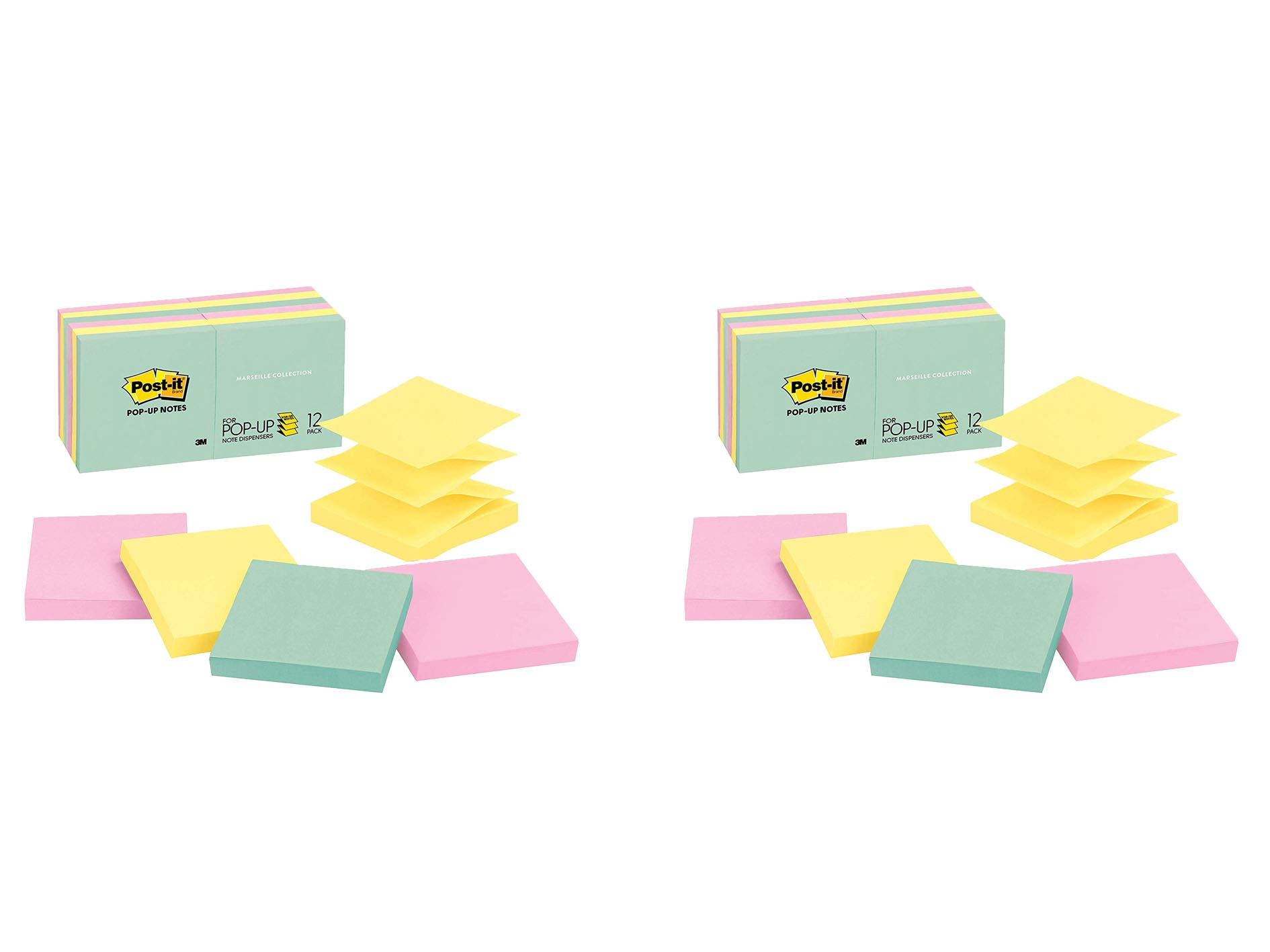 Post-it Pop-up Notes, Green, Pink, Canary Yellow, Blues, Designed for Pop-up Note Dispensers, Great for Reminders, 3 in. x 3 in, 12 Pads/Pack, 100 Sheets/Pad (R330-12AP), 2 Pack by Post-it
