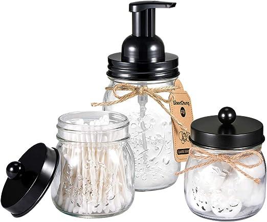 Mason Jar Bathroom Accessories Set - Mason Jar Foaming Hand Soap Dispenser and Qtip Holder Set - Rustic Farmhouse Decor Apothecary Jars Bathroom Countertop and Vanity Organizer (Black)-Patent Pending