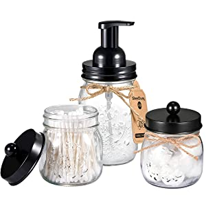 Mason Jar Bathroom Accessories Set - Includes Mason Jar Foaming Hand Soap Dispenser and Qtip Holder Set - Rustic Farmhouse Decor Apothecary Jars Bathroom Countertop and Vanity Organizer (Black)