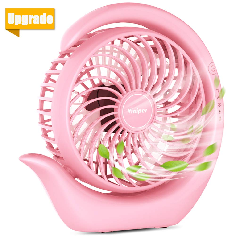 viniper Battery Operated Fan, Rechargeable Fan : 180° Rotation and 3 Speeds Strong Wind Portable USB Quiet Fan, Optimised Battery & Longer Working Hours, Strong Cooling (6.2 inch, Classic-Pink) by viniper