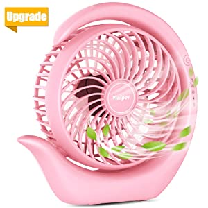 viniper Battery Operated Fan, Rechargeable Fan : 180° Rotation and 3 Speeds Strong Wind Portable USB Quiet Fan, Optimised Battery & Longer Working Hours, Strong Cooling (6.2 inch, Classic-Pink)