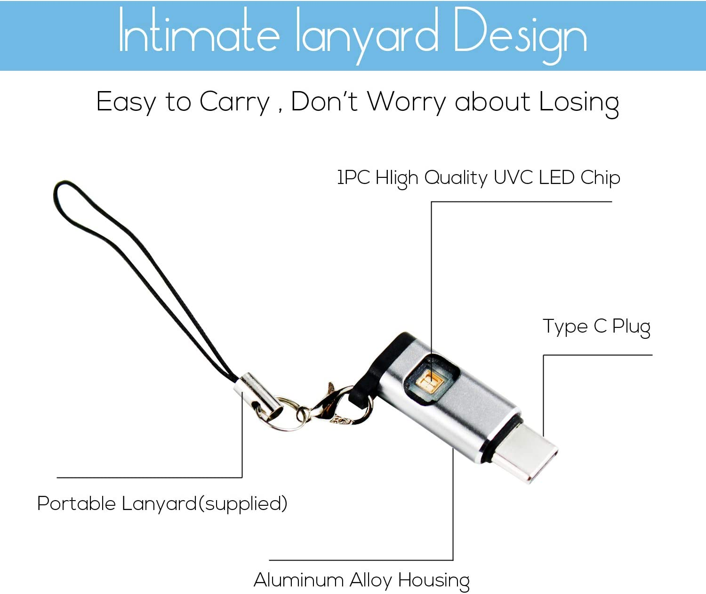 UV Sterilizer,Mini UV Disinfection Lamp,Portable Instant USB Ultraviolet Sanitizer Light USB C Interface Handheld UV Germicidal Lamp,for Mug,Phone,Toilet Seat,Steering Wheel and More