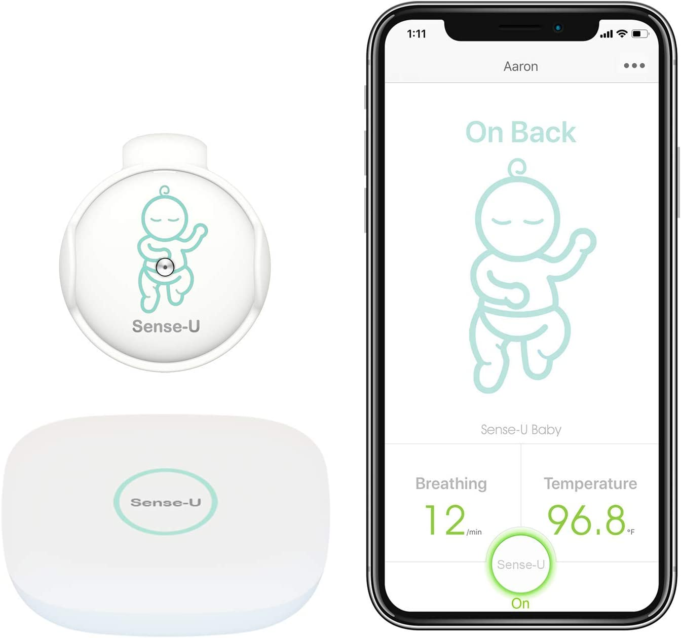 Sense-U Swaddle manta con monitorizar de movimiento de respiración integrado, estómago para dormir y conseguir frío con alarma Audible desde Smartphone