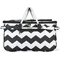 Eaglemate Foldable Outdoor Picnic Insulated Cooler Basket Storage Tote (Black/White Waves)