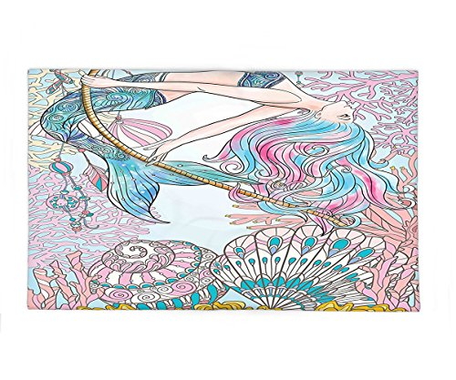 Interestlee Fleece Throw Blanket Mermaid Decor Cartoon Mermaid in Sea Sirens of Greek Myth Female Human with Tail of Fish Image Pink Blue