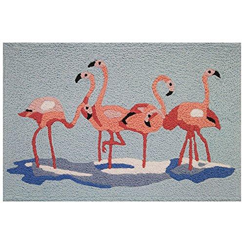Jellybean Indoor Outdoor Machine Washable Rug, Miami Flamingos (Outdoor Rug Tropical)