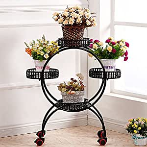 continental iron multilayer mobile push and pull flower pulley floor flower pot living flower-B