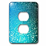 3dRose lsp_267050_6 Sparkling Luxury Elegant Aqua Teal Blue Faux Glitter Effect Artprint Plug Outlet Cover, Multicolor