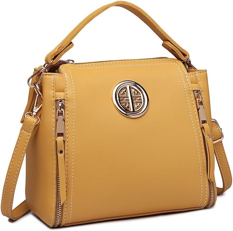 Miss Lulu Marca Mujeres Top Mango Bolsa Pu cuero cruzada bolso elegante bolso bolso pequeño clásico para mujer bolso de hombro (Amarillo)