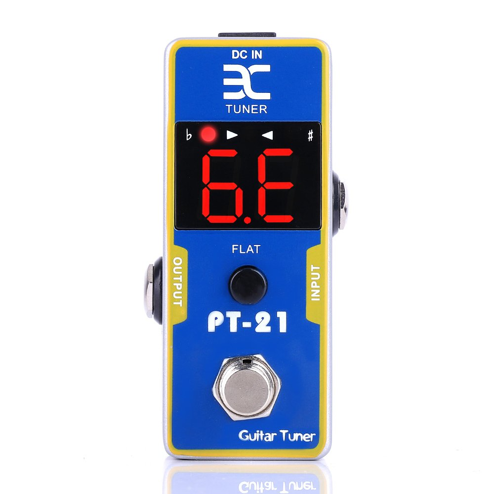 EX High Definition LED Display True Bypass Electric Guitar Pedal Tuner with Pitch Calibration and Flat Tuning