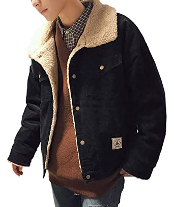 08dce0d7b3 Niaona Men's Vintage Corduroy Sherpa Fleece Lined Trucker Jacket ...