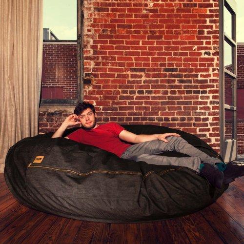 Jaxx Cocoon 6-foot Bean Bag, Black Denim (Denim Bean Bag)