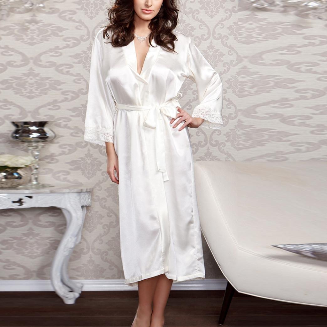 Yesmile Ropa de Interior Pijama Mujer Vestido Largo de Seda del Baño Ropa Interior Atractivas Camisón Largo de Albornoz con Parches de Encaje Batas Negro ...