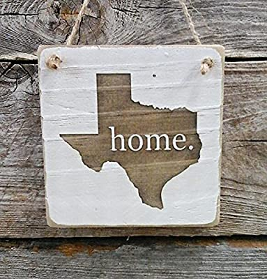 Texas Home Hanger - Reclaimed Wood Ornament - Texas Decor (small keepsake 4 inches by 4 inches)
