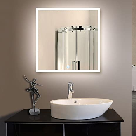36 X 36 In Horizontal And Vertical LED Bathroom Silvered Mirror With Touch  Button (N031