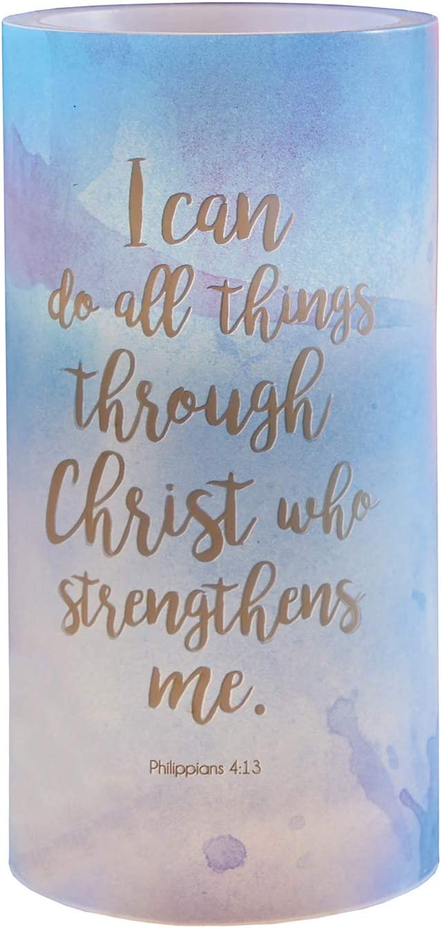 Creative Brands Heartfelt Collection-Garden Party Christian LED Candle, 3 x 6-Inches, Philippians 4:13