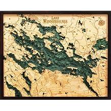 "Lake Winnipesaukee, New Hampshire 3-D Nautical Wood Chart, 24.5"" x 31"""