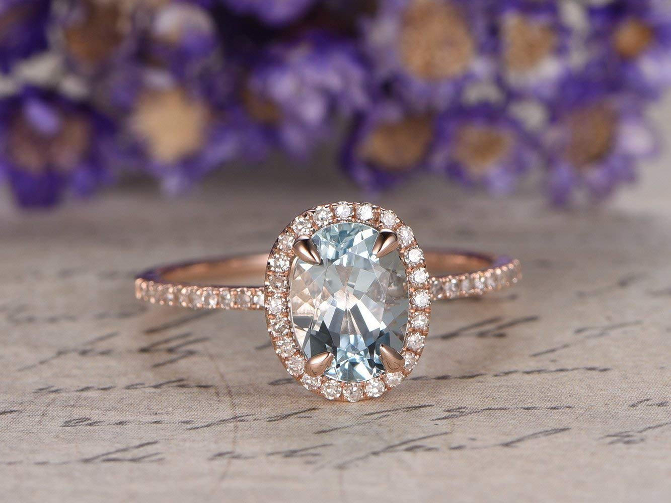 Amazon Com Blue Aquamarine Engagement Ring Natural 6x8mm Oval Cut Solid 14k Rose Gold Diamond Halo Rings Thin Wedding Band Bridal Ring Women Anniversary Gift March Birthstone Claws Prong Handmade
