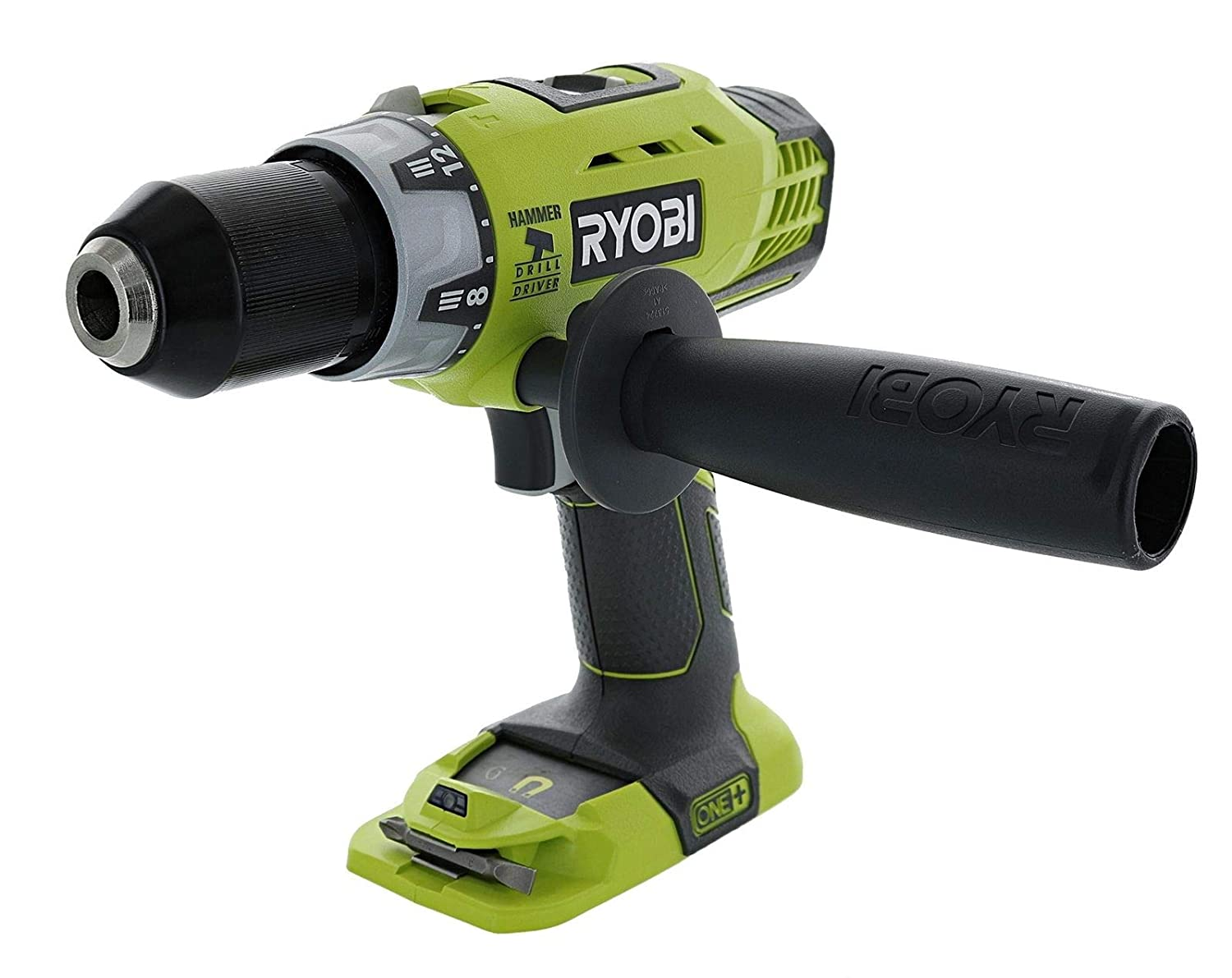 Ryobi P214 One+ 18 Volt Lithium Ion 1/2 Inch 600 Pound Torque Hammer Drill/Driver (Tool Only) with Handle (Non-Retail Packaging)