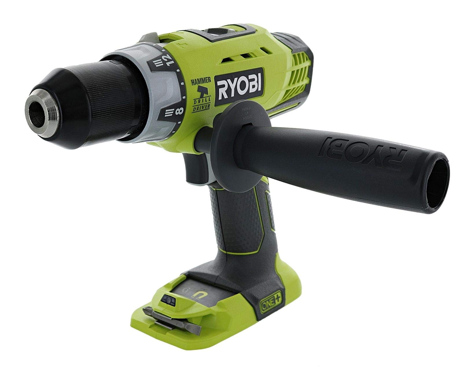 Ryobi P214 One+ 18 Volt Lithium Ion 1/2 Inch 600 Pound Torque Hammer Drill/Driver (Tool Only) with Handle (Non-Retail Packaging) by Ryobi