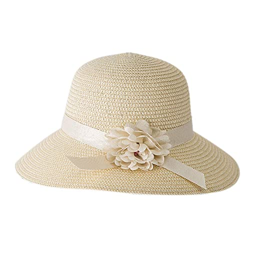 7759485e8 DDKK_Hat Ladies Structured Curved Floppy Foldable Wide Brim Straw  Hat-Travel Flower Fedora Hat-Summer Beach Bucket Cap