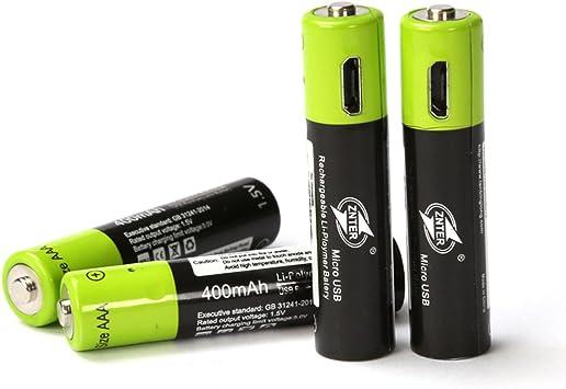 Micro USB Batería de litio de beatease Pack de 4 pilas AAA de 1,5 V 400 mAh de polímero de litio baterías 4 en 1 Micro USB Cable incluido: Amazon.es: Electrónica