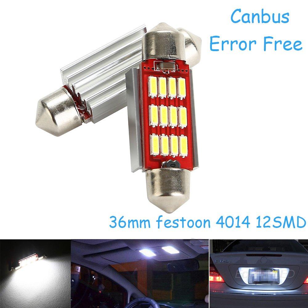 CICMOD Universale Auto LED 39mm Lampadine Siluro Canbus 4014 12SMD Luci Plafoniere(Bianco)