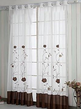 SIMPVALE Lot de 2 Rideaux Voilages de la Salon Balcon Imprim/é Floral Manuel Largeur 150cm // Hauteur 145cm, Orange