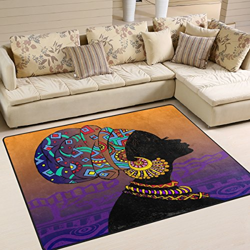 ALAZA Silhouette of African Woman Aztec Tribal Vintage Area Rug Rugs for Living Room Bedroom 7' x 5'