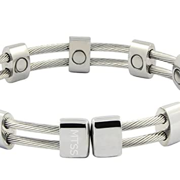 d1d8bd06748 Image Unavailable. Image not available for. Color: Stainless Steel Magnetic  Cable Bracelet ...