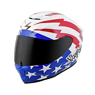 Scorpion EXO-R420 Helmet - Tracker (X-SMALL) (WHITE/RED/BLUE): Sports & Outdoors