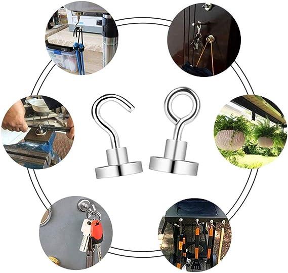 KAILEE 24PCS Gancio Magnetico al Neodimio Ganci Calamita Potenza di Aspirazione Eccellente Ultra Forte Supporto a Gancio Magnetici per Porte Armadi Soffitti Accessori Accessori Industriali