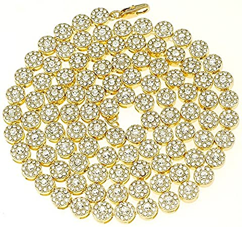 Sunflower Cluster Link Gold Color Iced Out 36 Inch Necklace (Chief Keef Pendant)