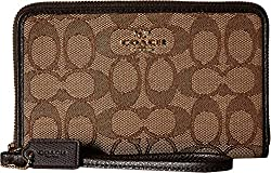 COACH Women's Box Program Signature Zip Organizer LI/Khaki/Brown Clutch