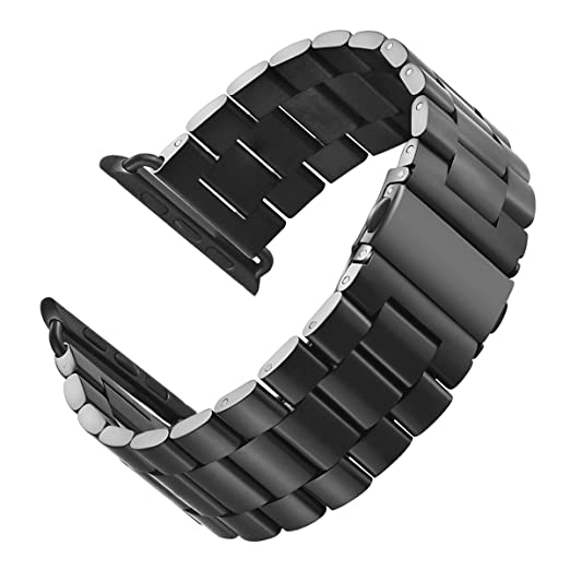 5c8e4630377 LNKOO Stainless Steel Metal Clasp Watchbands Replacement Wrist Strap  Classic Buckle Polishing Watch Bands Compatible for Apple Watch iWatch (38mm