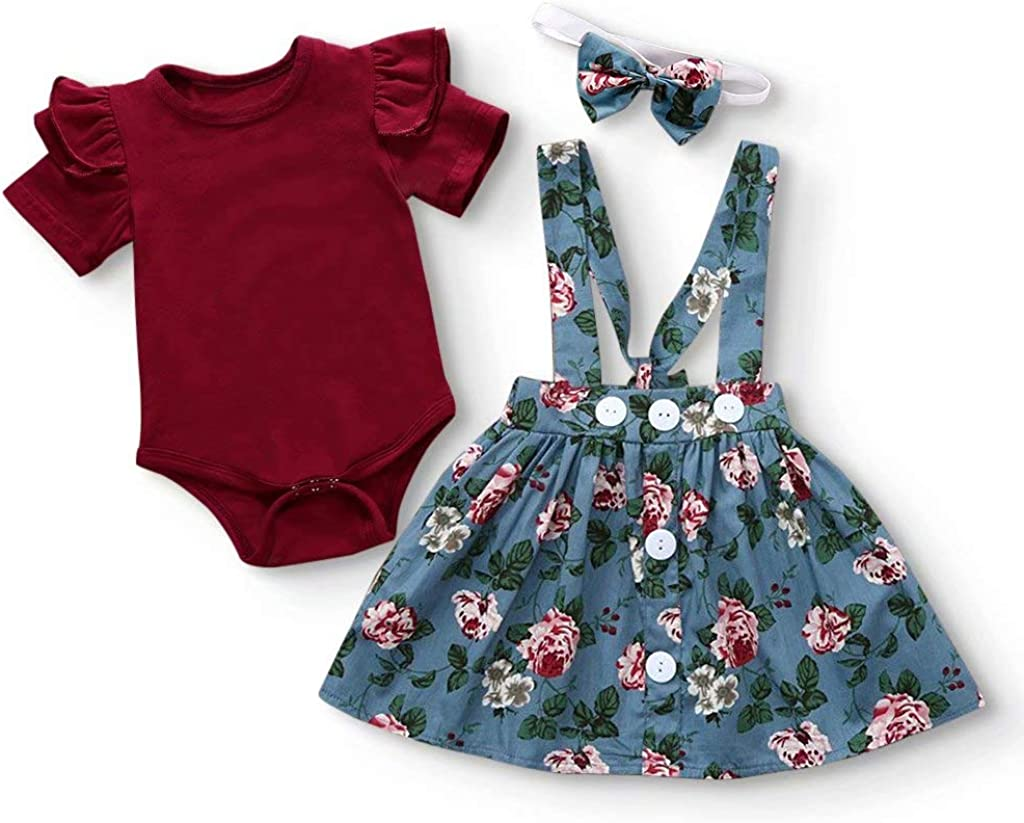 IFFEI 3Pcs Baby Girls Outfits Short Sleeve Romper Floral Skirt with Headband Girl Clothes Set