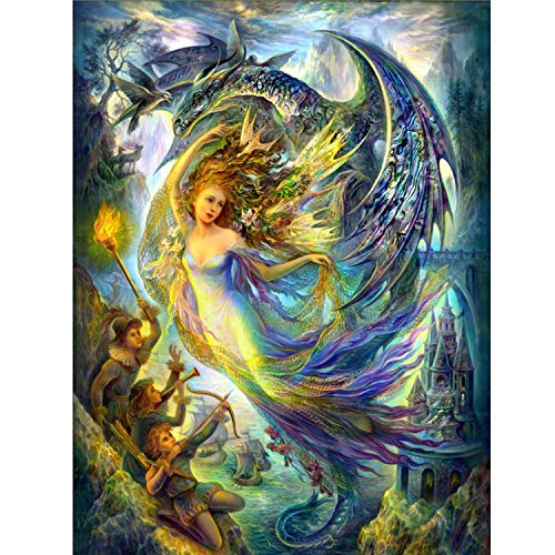 MJH & Arts Brede DIY 3D Daughter of the Dragon King Counted Cross Stitch Kits Print Embroidery Handmade Needlework Wall Home Decor (Size 70X55CM)