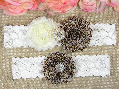 Sale Handmade Wedding Garter - Wedding Garter Set, Bridal Garter Belt, Ivory and Leopard Garter, Keepsake and Toss Stretch Lace Garters