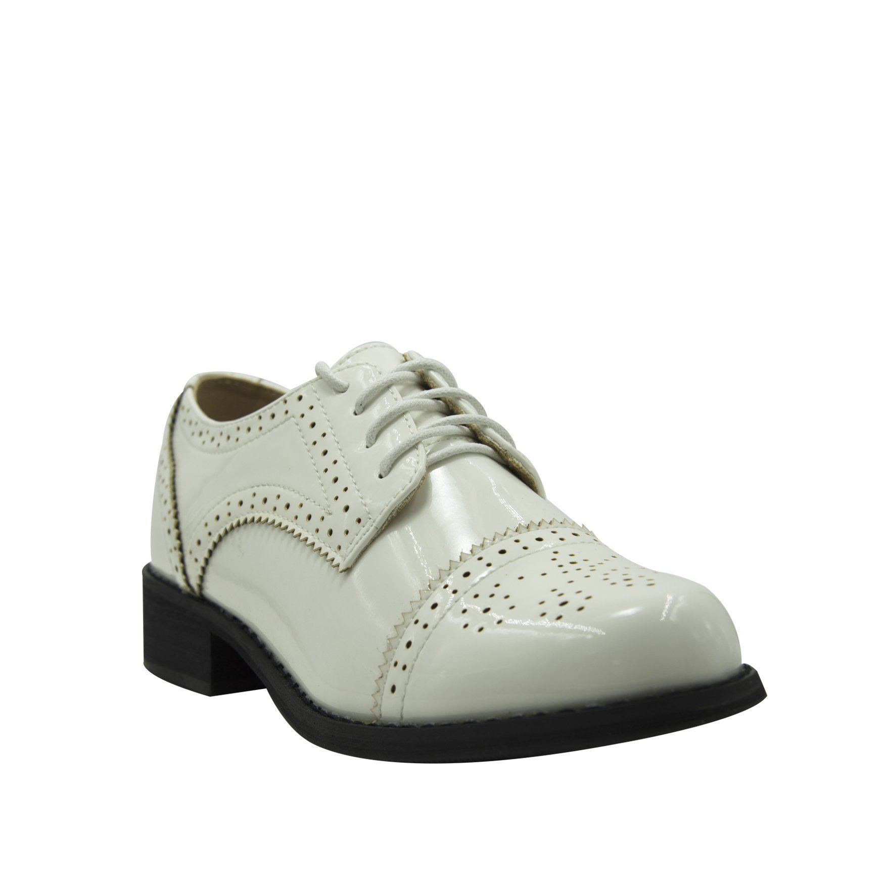 GottaBe Womens Perforated Lace-up White Leather Oxfords Shoes - Oxfords Shoes Women - Vintage Oxford Shoes(9) by GottaBe (Image #3)
