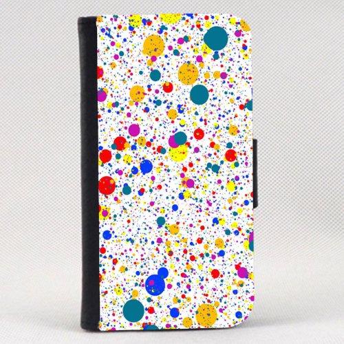 Case Fun Apple iPhone 4 / 4S Faux Leather Wallet Case - Multicolour Paint Splatter
