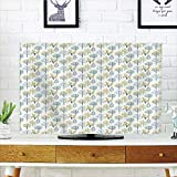 iPrint LCD TV dust Cover Strong Durability,Tree,Doodle Style Illustration compatibleest in Summer Woods Country Rustic Artistic,Mint Green Blue Marigold,Picture Print Design Compatible 55'' TV